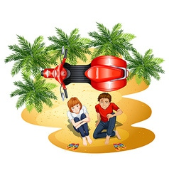 A topview of a boy and a girl near the motorcycle vector