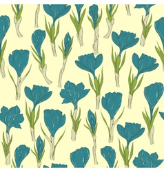 Seamless pattern with crocus vector