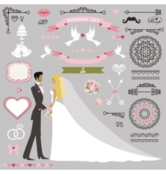 Wedding invitation decor set with kissing stand vector
