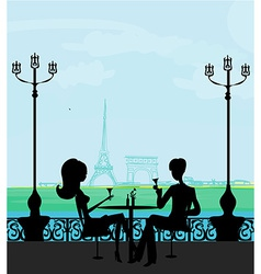 Young couple flirt and drink champagne in paris vector