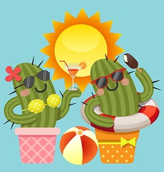 Loving couple of cactus with summer theme vector