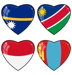 Set of images of hearts with the flags of nauru vector
