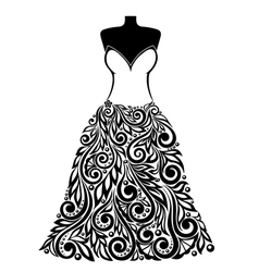 Silhouette of a dress with a floral element vector