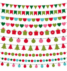 Christmas lights and decoration set vector