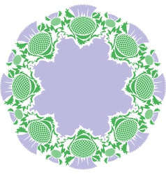 Beautiful pink round vignette of flowers thistle vector