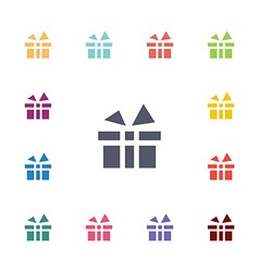 Gift flat icons set vector