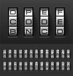 Combination code lock alphabet vector