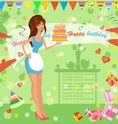 Girl with birthday cake vector