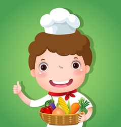 A smiling boy chef holding a basket of vegetables vector