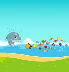 Dolphins and oceanic vector