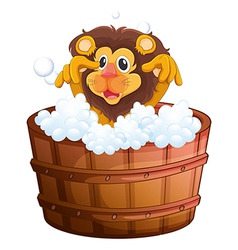 A lion at the bathtub vector