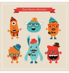 Cute retro hipster monsters set vector