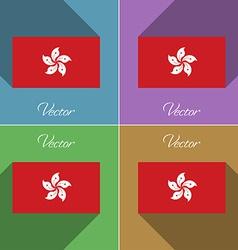 Flags hong kong set of colors flat design and long vector