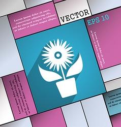 Flowers in pot icon symbol flat modern web design vector