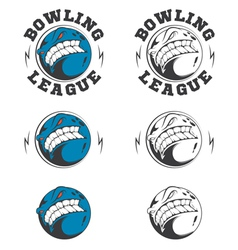 Set of bowling labels and badges vector