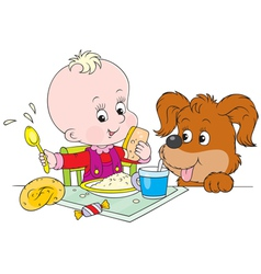 Toddler and pup at dinner vector