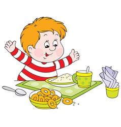 Boy at dinner vector