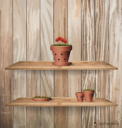 Wood shelf with red flower plant in clay pot vector