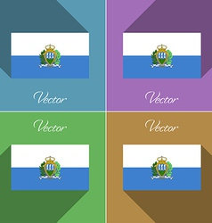 Flags san marino set of colors flat design and vector