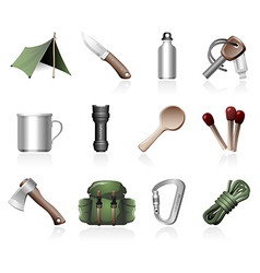 Bushcraft icons vector