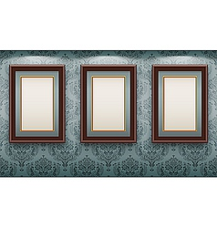 Wooden frames on the wall vector