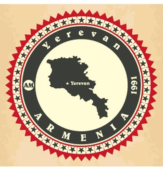 Vintage label-sticker cards of armenia vector