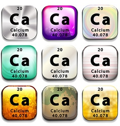 A periodic table showing calcium vector