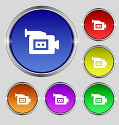 Video camera icon sign round symbol on bright vector