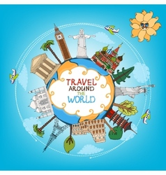 Travel landmarks monuments around world vector