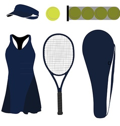 Blue tennis set six items vector