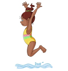 A girl diving into water vector