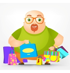 Cheerful chubby man vector