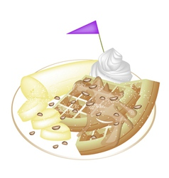 Tradition waffle with banana and whipped cream vector