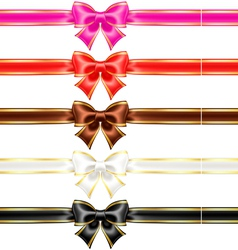 Bows with edging and ribbons in warm colors vector