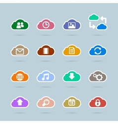 Set of cloud technology icons contrast color vector