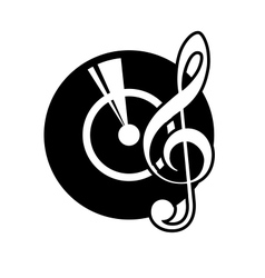 Vinyl record and a musical clef vector