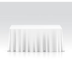 Empty rectangular table with tablecloth vector