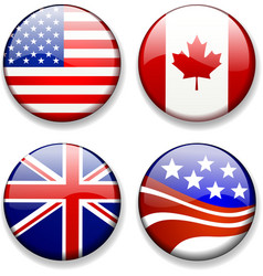 Shiny flag badges usa canada great britain uk vector