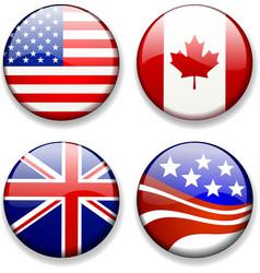 Shiny flag badges usa canada great britain uk vector