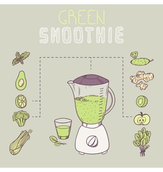 Green smoothie template receipt vector