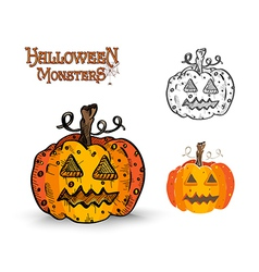 Halloween monsters spooky pumpkin eps10 file vector