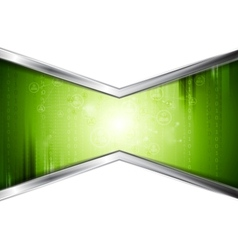 Green technology background with metal stripes vector