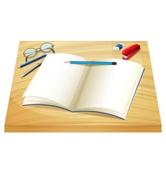 An empty notebook above the wooden table vector