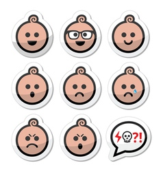 Baby boy faces avatar icons set vector