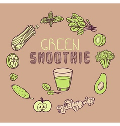Green smoothie background with vegetable frame vector