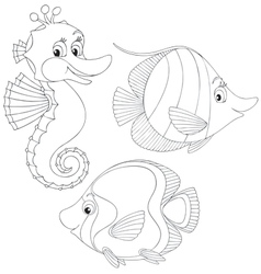 Coral fishes and seahorse vector