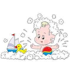 Bathing toddler vector