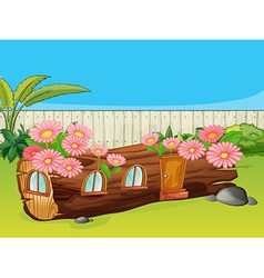 Flowering wood house vector