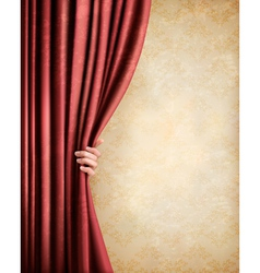 Vintage background with red old curtain and hand vector