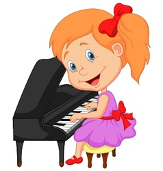 Cute little girl cartoon playing piano vector